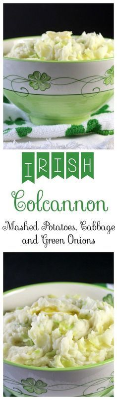 Irish Colcannon - Creamy mashed potatoes with cooked cabbage and green onions. So good! Recipes, Food and Cooking