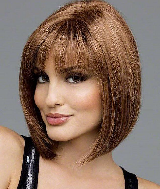 bobs hairstyle for woman over 50 with bangs | Medium short ...