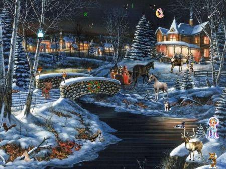 Christmas Winter Night Winter Wallpaper Id 1277954 Desktop Nexus Nature All That Is