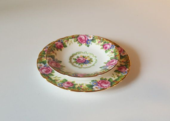 Vintage Paragon TAPESTRY ROSE Plate and Matching by RetroEnvy21