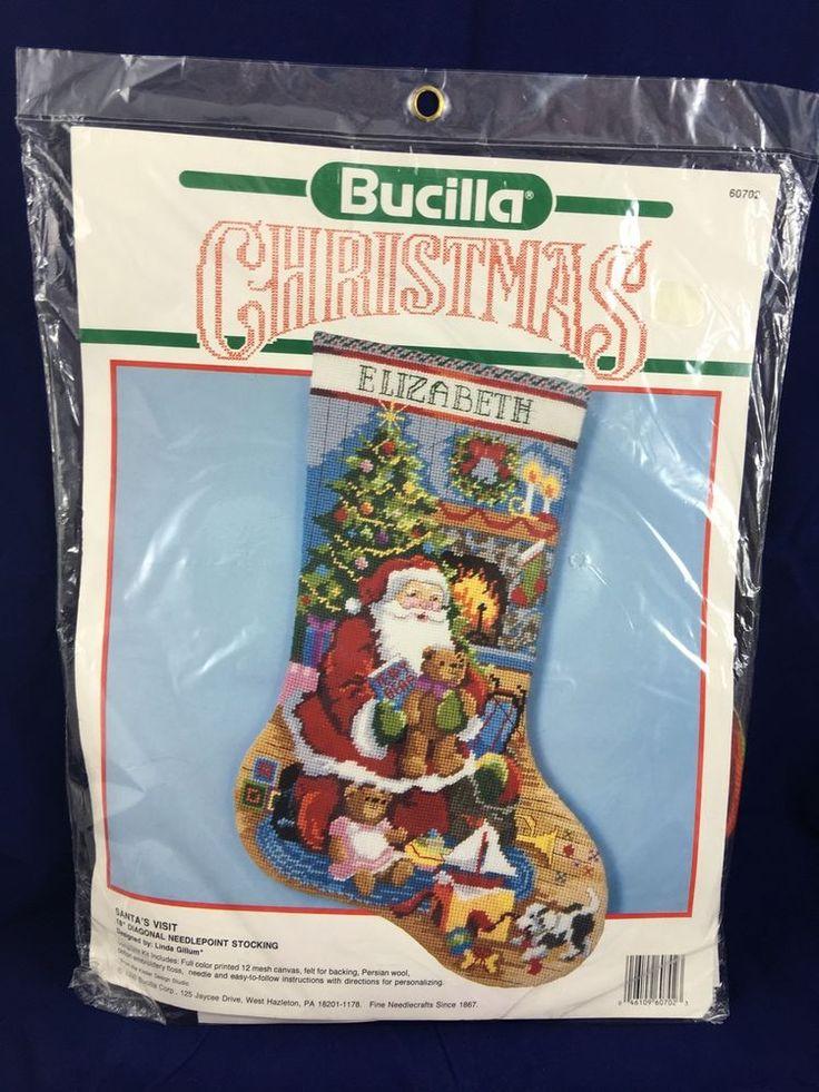 "Santa's Visit Bucilla Christmas Needlepoint Stocking Kit 60702 Linda Gillum 18"" | eBay"
