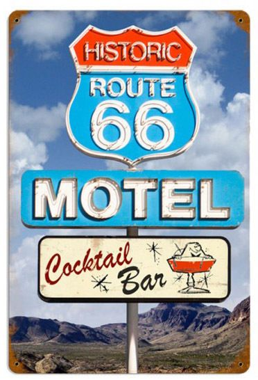 Route 66 Cocktail Sign 18 x 12 Inches