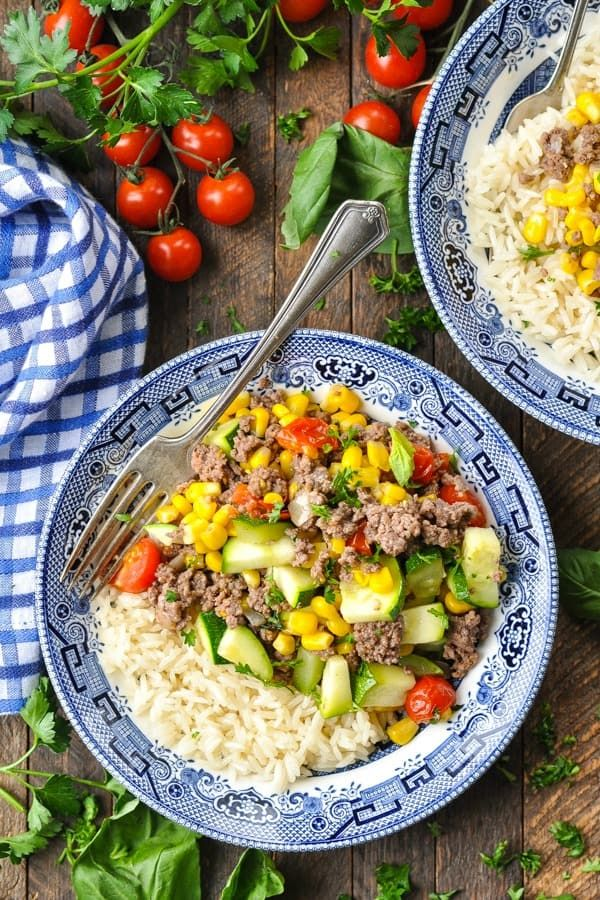 Ground Beef Dinner With Summer Vegetables Recipe In 2020 Dinner With Ground Beef Beef Dinner Ground Beef Recipes Easy