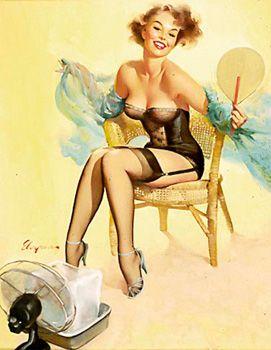 """Cooling Down"" by Gil Elvgren Vintage Pin Up Girl Illustration | Pin-Up Girls | Sugary.Sweet | #PinUp #Art #Vintage #Illustration"