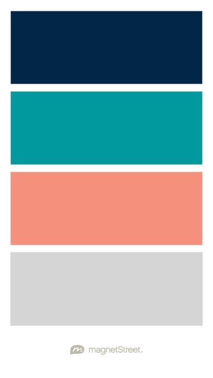 Navy, Teal, Coral, and Silver Wedding Color Palette - custom color palette created at MagnetStreet.com
