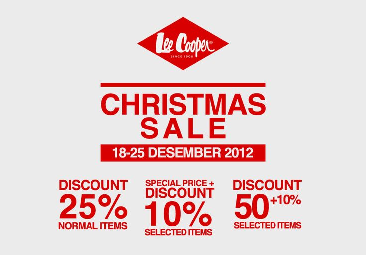 Lee Cooper Christmas Sale is Coming!  Let's go shopping from 18-25 December 2012 because Lee Cooper is giving you varieties of discount. All items are 25%, including the new collections of Autumn/Winter 2012, Selvage Denim and shoes! For selected items only, you can get a special price + 10% off. More over, 50% + 10% discounts are on for selected item! Shop now!