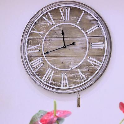 80cm Reloj De Pared Madera Vintage Shabby Chic Grande Frontal Abierto