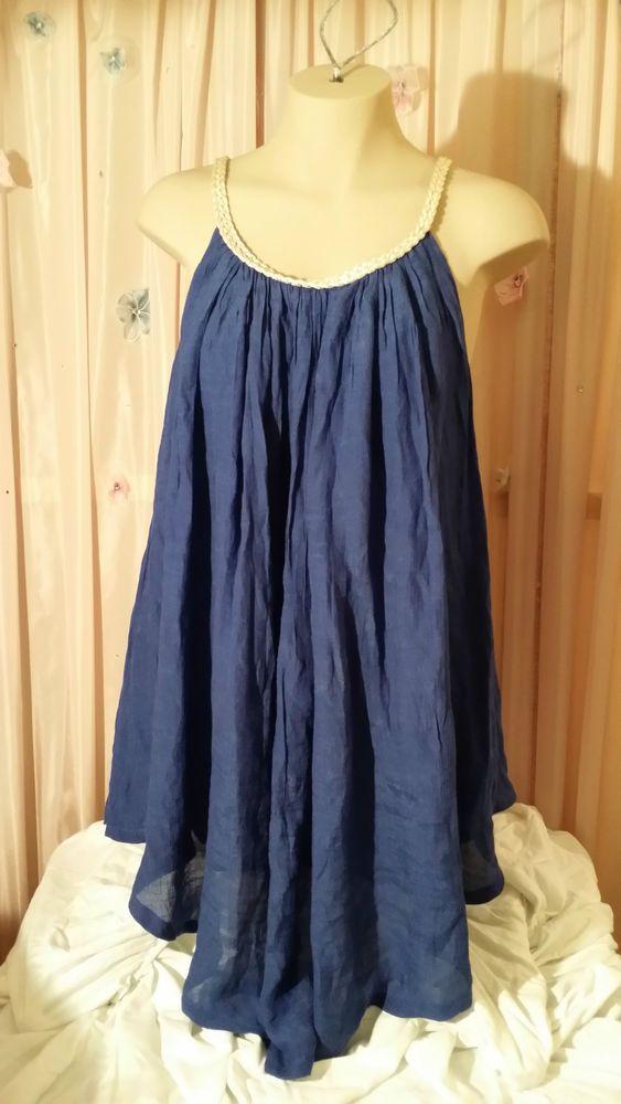 Kaktus BLUE flowy tank tunic top blouse shirt L boho ...