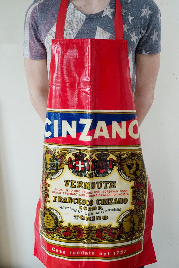 Classic Red Cinzano bottle label PVC  apron by ElsieandMartha