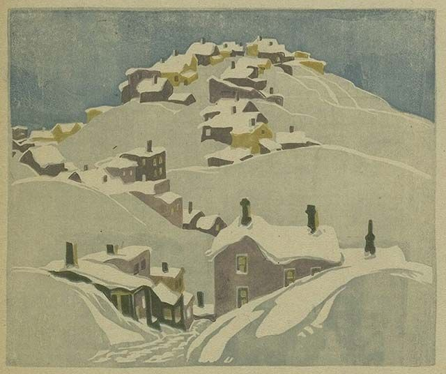"""Houses, Cobalt,"" Frank Carmichael, ca. 1931-1932, color linocut on laid paper, block: 6.1 x 7.2"", National Gallery of Canada."