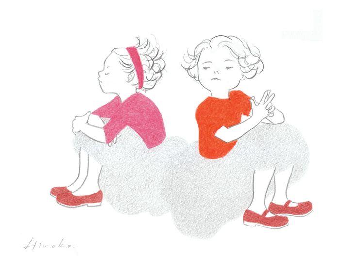 『仲直りのタイミング』 色鉛筆・鉛筆 16cm×21cm