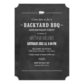 "Casual style ""Backyard BBQ"" party invitation features a little pig motif, stylish custom text in western and modern fonts, a scroll and stripe design elements, and a white handwritten chalk look on a background with a rustic textured black chalkboard appearance. #birthday #adult #summer #backyard #bbq #barbeque #barbecue #cookout #party #chalkboard #pig #roast #grill #chalk"