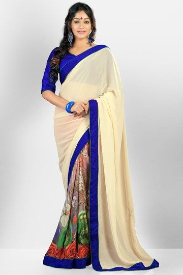 Sarees, Admyrin, Admyrin, A Very Fine Cream Georgette Saree Adorned with Digital Printed work ,  ,  , 5 - 6 ,  ,  ,
