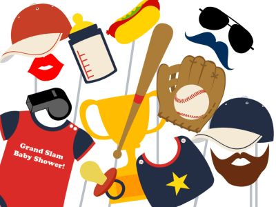 Baseball baby shower Printable Props, Basketball Photo booth Props, Sports Party centerpieces, Baseball Centerpieces