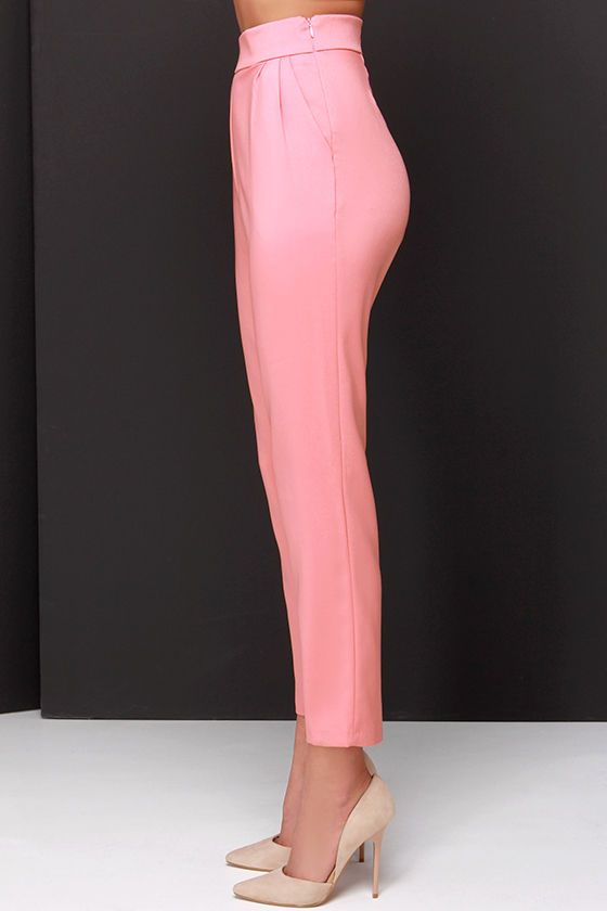 Fashion fads come and go, but your love for a classic staple like the Trouser We Go Blush Pink High-Waisted Pants, will never fade! These high-waisted trousers, in a soft woven-poly blend, have a banded waist that tops a series of delicate pleats that fall into diagonal slit pockets. The slightly tapered legs keep this look chic and clean. Hidden side zipper with clasp. Unlined. 97% Polyester, 3% Spandex. Hand Wash Cold.