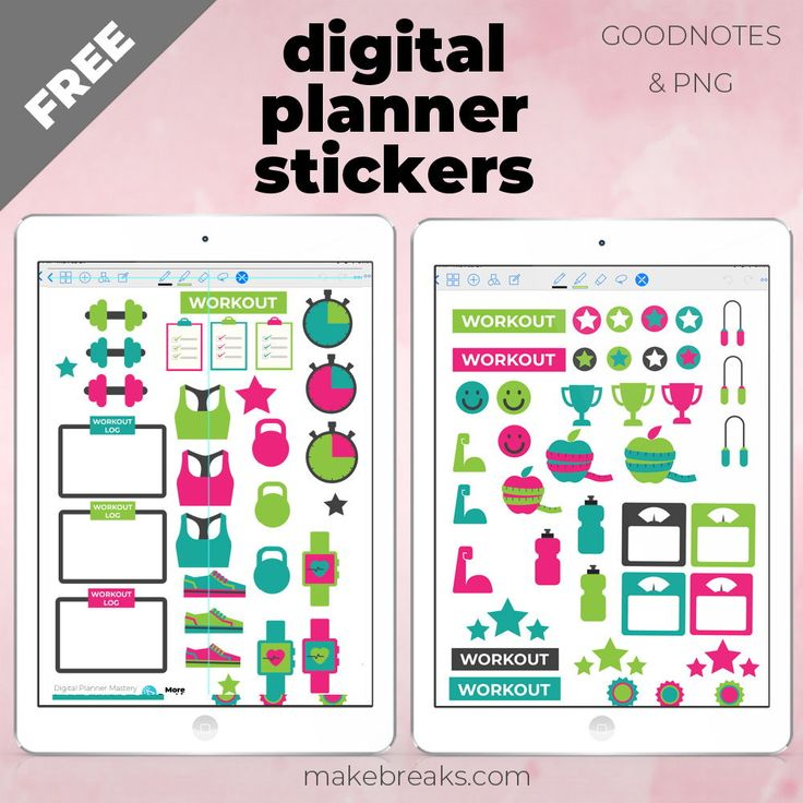 Free Digital Planner Stickers – Fitness and Workout