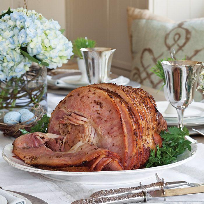 A flavorful ham glazed with Coca-Cola, whole-grain mustard, and brown sugar.