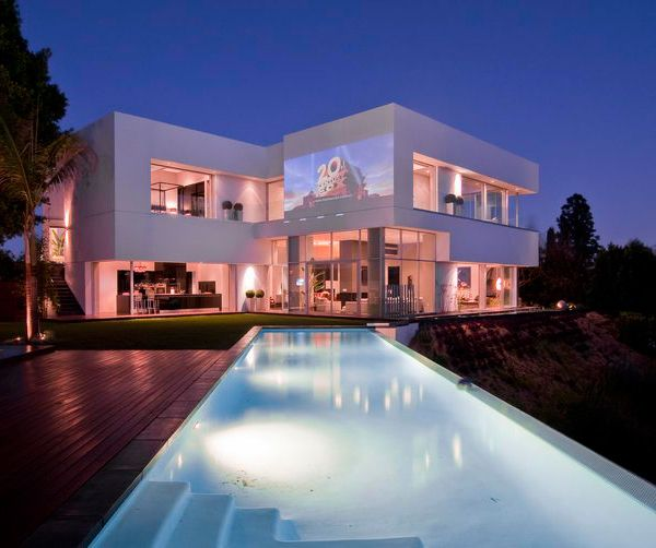 Custom luxury home designed by Marc Canadell -- Exterior (and yes, it is designed to be an outdoor screen)