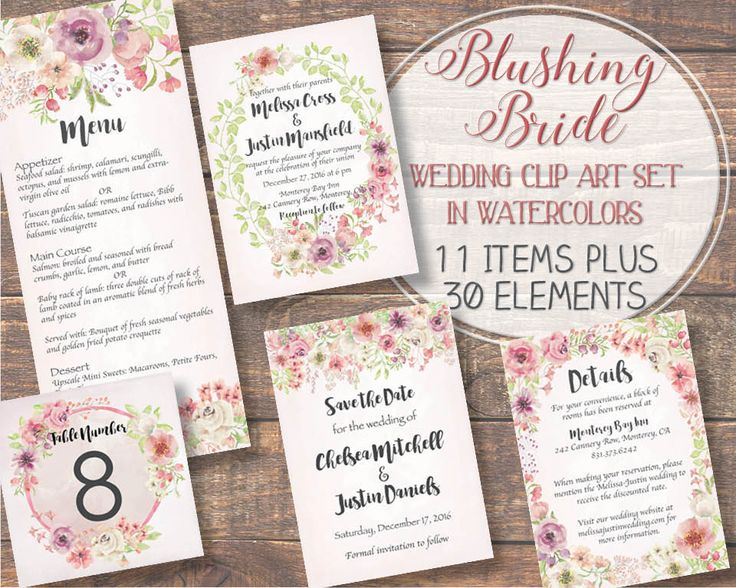 Watercolor floral clip art set: Blushing Bride; wedding clip art; weddings; hand painted watercolors in pink and ivory; instant download by LollysLaneShoppe on Etsy