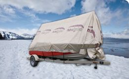 Boat shelter, winter tarp and frame for fishing boats, runabouts and pontoon, boat cover