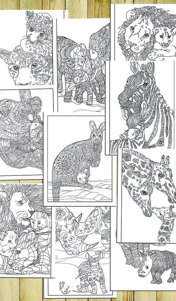 10 Animal Coloring Pages Pdf Printable Zentagle Zen doodle Adult ...