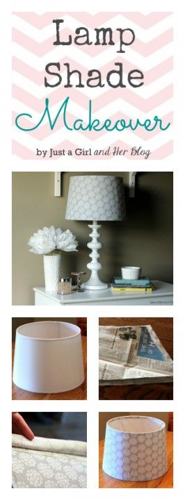 Lamp Shade Makeover with Fabric tutorial...def have to remember this! I can already think of a couple shades to make over