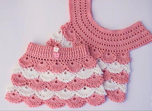 Lindo Conjunto Em Crochê Para Crianças Até 2 Anos De Idade
