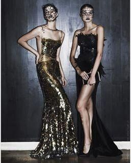 Claudio Mansilla Gold Sequin Gown 2015 as seen on Paris Hilton