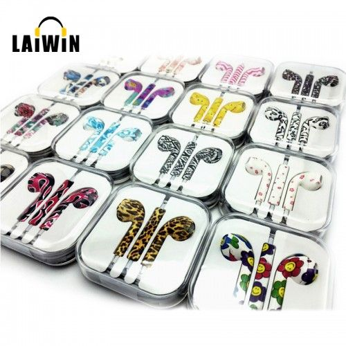 Birthday Gift 2016 Newest Cute Floral Painted 3.5mm In Ear Earphone Earbud For iPhone 4s 5 5s For Samsung Headphone Headset