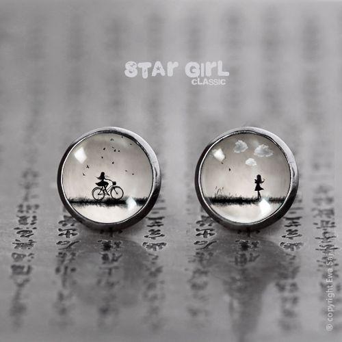 Star Girl Classic Rower/Obłoki - mini wkręty w Ewa Saj na DaWanda.com