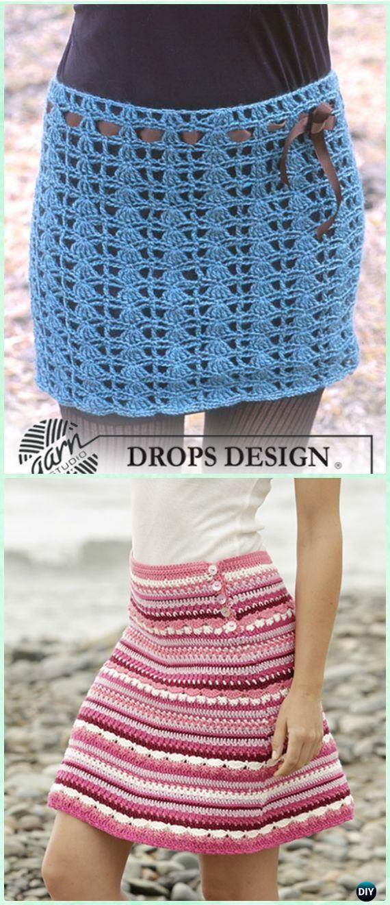Crochet Drop Design Skirt Free Pattern - Crochet Women Skirt Free Patterns