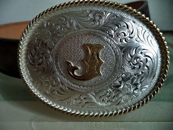 Western Montana Silversmiths Silver Gold Belt by MushkaVintage3