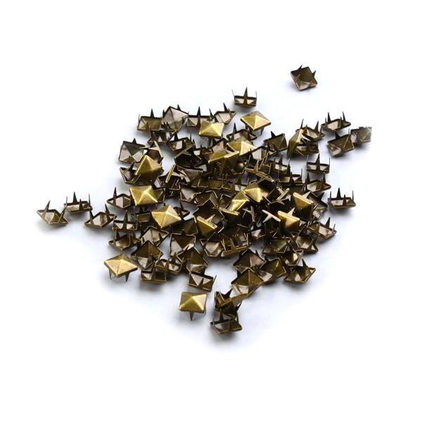 Set of 600 pyramid shaped tacks/pins for clothes 9mm.Metallic/Pink/Bronze/Silver