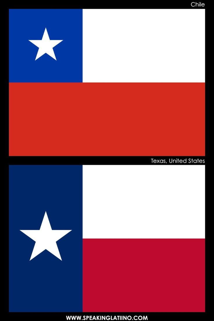 Hispanic Flags With Similar Flags from Around the World: CHILE AND TEXAS, USA: INSPIRED BY THE UNITED STATES? Read more about it here: http://www.speakinglatino.com/hispanic-flags-with-similar-flags/ #Chile #Texas #Bandera #Flag