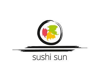Logo design: Sushi Sun -Sushi, chopstick, roll, maki, sashimi