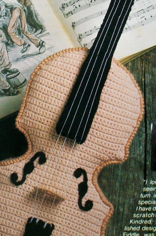 Amigurumi Hat Crochet Patterns : Crochet Fiddle Violin Musical Instrument, Crochet Pattern ...