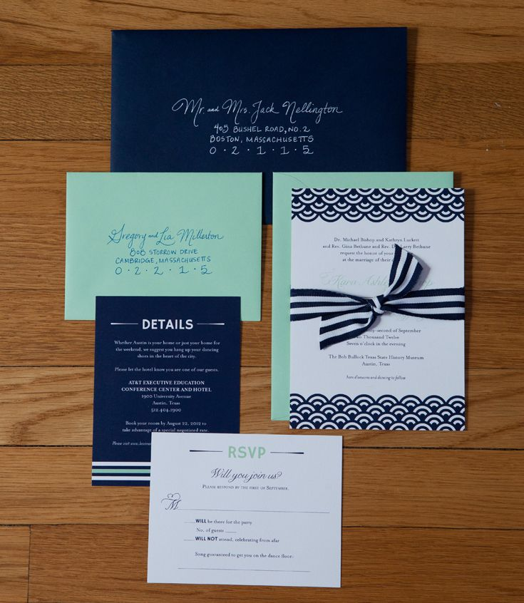 Wicked Bride Stationery: In the Studio: Karas Navy & Mint Wedding Invitations