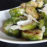 Heat oil in a large skillet over medium-high heat.  Add Brussels sprouts, season with salt and freshly ground black pepper,