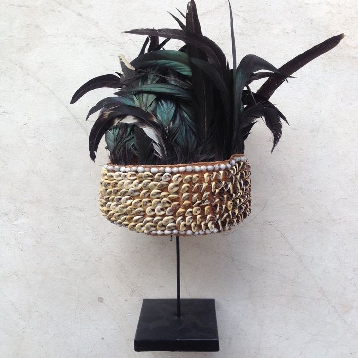 Hat Warrior Black Feather And Shell