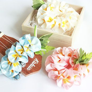 Ribbon lei for ukulele (3pieces) / plumeria set / ukulele gift /  ukulele accessories /
