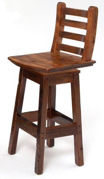 Reclaimed Barnwood Stool with Swivel | Woodland Creek Furniture