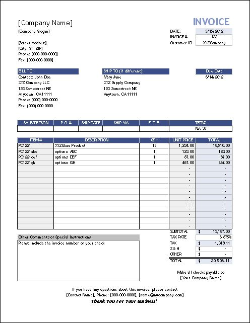 Template  Sales Invoice  Sales Book    Template