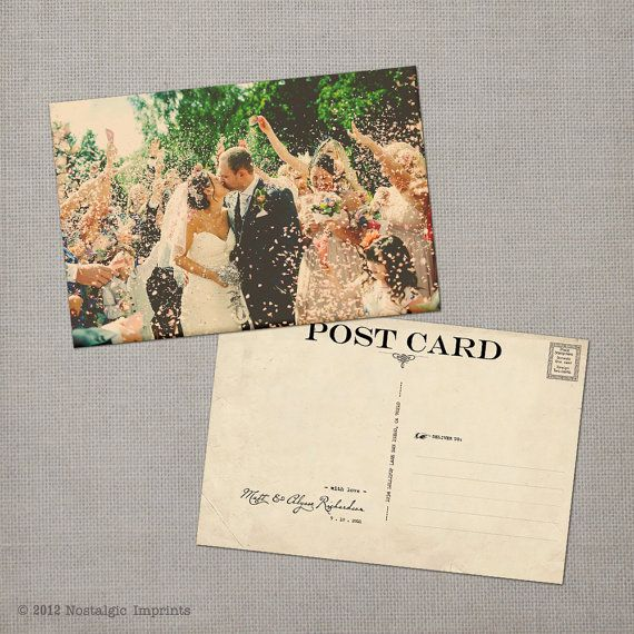 "Vintage Wedding Thank You Postcard - the ""Alysse"""