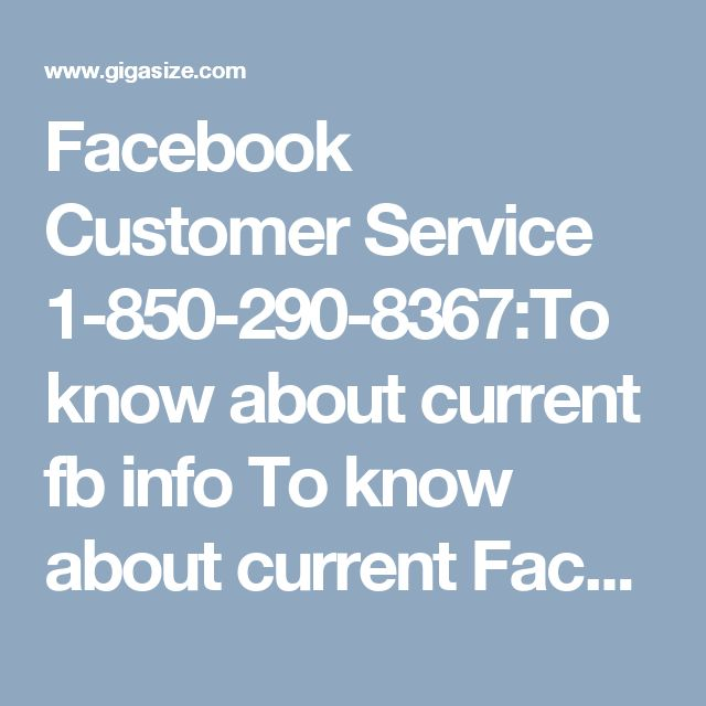 Facebook Customer Service 1-850-290-8367:To know about current fb info 	To know about current Facebook information process, just go through the Facebook Customer Service 1-850-290-8367, where technical team is always ready to solve your Facebook query without any problem in no time. Visit-http://www.monktech.net/facebook-customer-support-phone-number.html
