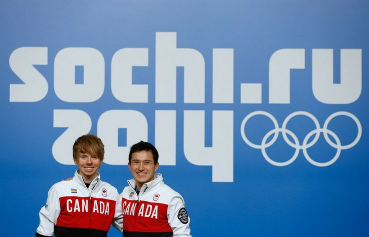 Kevin Reynolds (L) and Patrick Chan attend a Canada Men's Figure Skating press conference ahead of the Sochi 2014 Winter Olympics at the Mai...