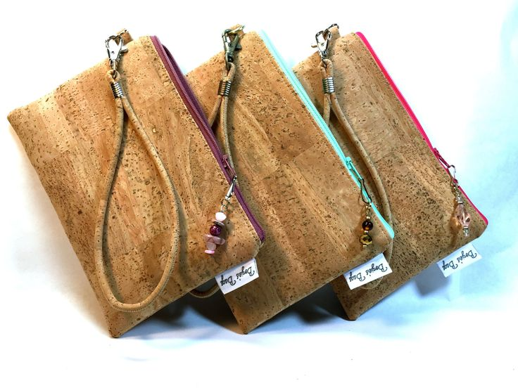 Cork wristlet, vegan purse, tan wristlet, natural cork fabric bag, cork fabric purse, vegan leather bag, eco friendly bag by BoziesBagsnWags on Etsy