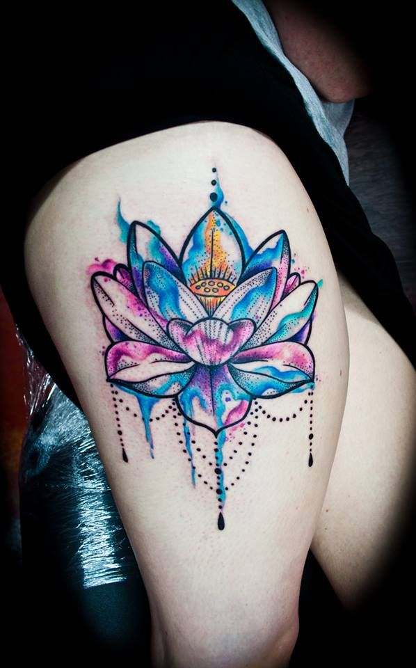 Lotus Flower Watercolor http://tattooideas247.com/lotus-flower-watercolor/