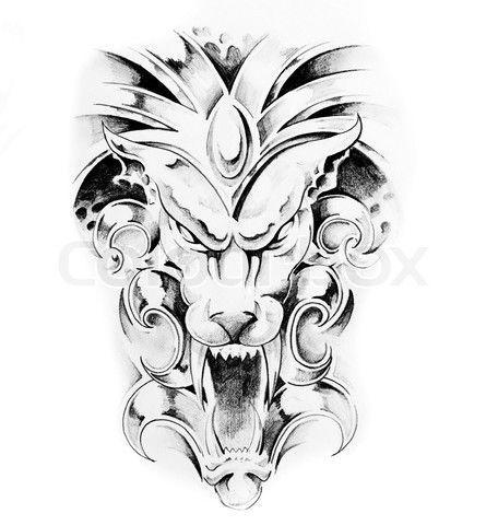 Gargoyle-Tattoo-Muster | Gargoyle Tattoo Sketch Design  #design #gargoyle #muste… – Tattoo Images