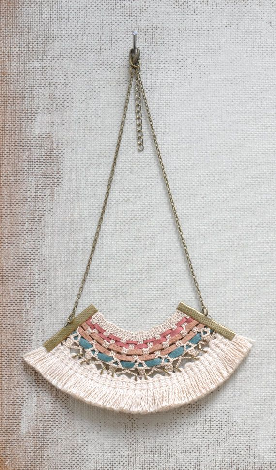 Vintage lace necklace embellished with leather and cotton fringing. £24,00, via Etsy.