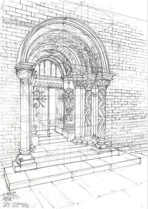 Romanesque portal using a pigma micron fineliner pen